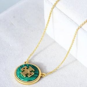 Tory Burch Logo Gold & Green Malachite Necklace